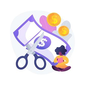 値下げする。お買い得品。コスト削減。割引、低料金、特別プロモーション。紙幣を分割するはさみ。危機と破産。市場での安さ。ベクトル分離された概念の比喩の図。
