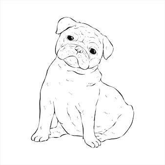 白い背景の上の手描きまたはスケッチスタイルでパグ犬をカットします。