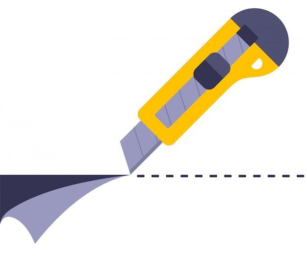 노란색 사무용 칼로 종이를 자르십시오. 평면 그림.