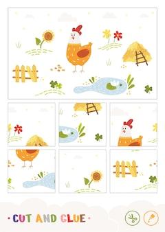 Нарезать кусочки собрать и склеить пазл детская игра с красочным изображением мультяшного цыпленка
