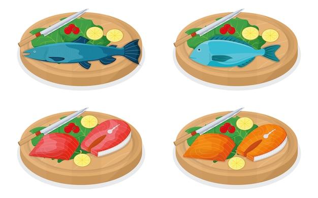 白、漫画イラストに分離された木製キッチンボードのコンセプトにマグロの魚のロールとサーモンミノーをカットします。