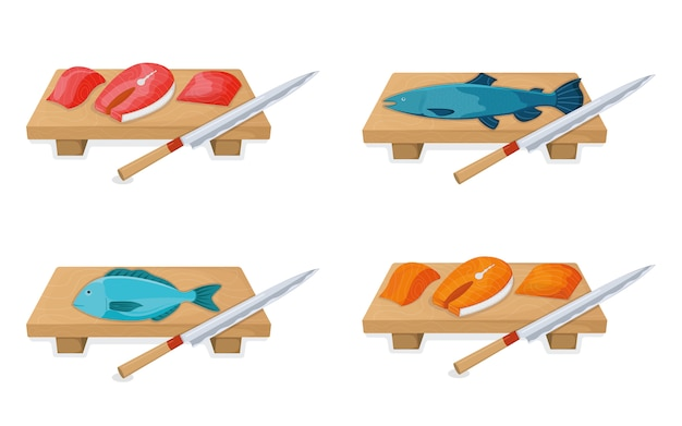 Cut up tuna fish roll and salmon minnow on wooden kitchen board concept isolated on white, cartoon illustration.
