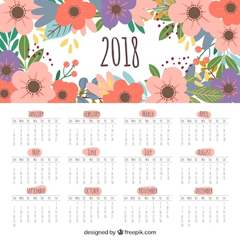 Cute 2018 calendar with flowers