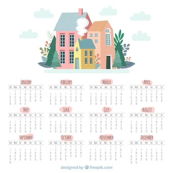 Cute 2018 calendar with houses