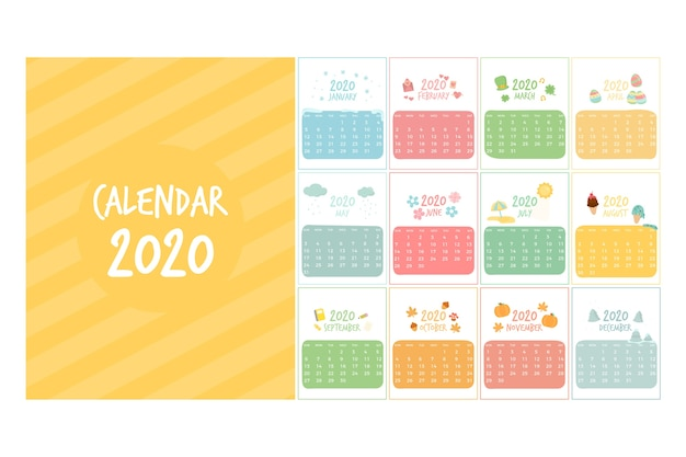 Cute 2020 calendar template Premium Vector