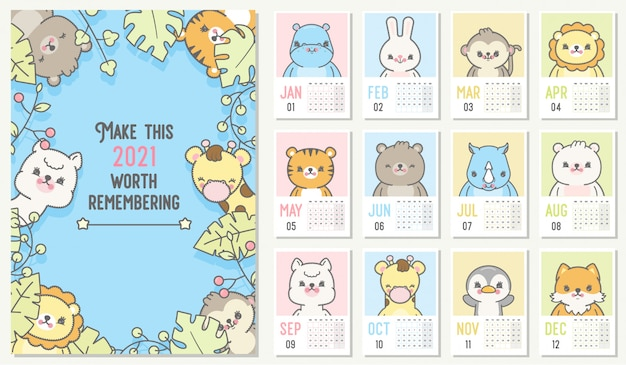 Cute 2021 calendar. yearly planner calendar with all months.
