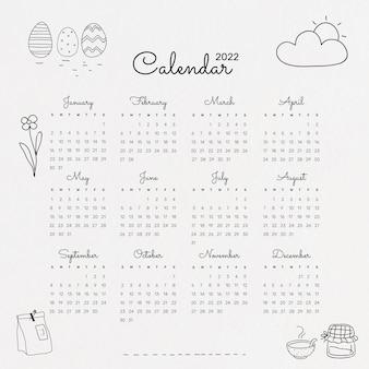 Simpatico modello di calendario mensile 2022, illustrazione vettoriale di scarabocchio minimo