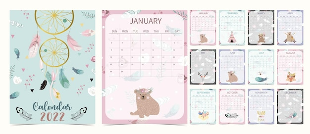 Cute 2022 table calendar week start on sunday with bear cub that use for vertical digital and printable a4 a5 size