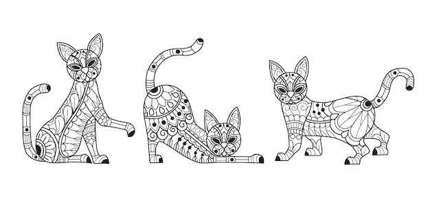 Cute 3 cats coloring page for adults