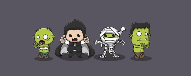 Симпатичные 4 призрака иллюстрации, 2 зомби, дракула и мумия
