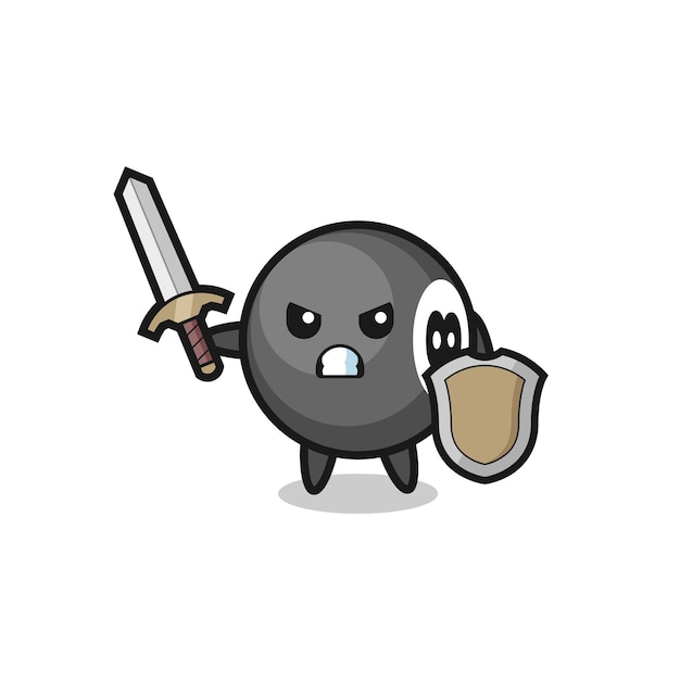 Cute 8 ball billiard soldier fighting with sword and shield , cute style design for t shirt, sticker, logo element