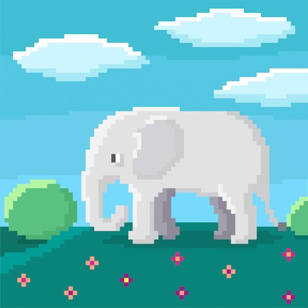 かわいい8ビットの象が丘の上を歩いています。茂み、空、背景の雲。明るいピクセルイラスト。