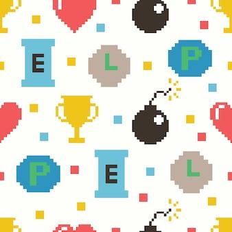 Cute 8 bit game seamless pattern