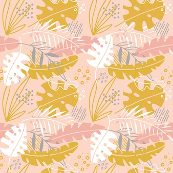 Cute abstract flowers seamless pattern with hand drawn palm leaves. scandinavian illustration invitation , notebook, banner, wrap paper, textiles, cover, postcard, interior, fashion