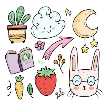 Cute abstract full color kids doodle with rabbit and moon