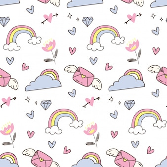 Cute abstract seamless pattern in doodle style