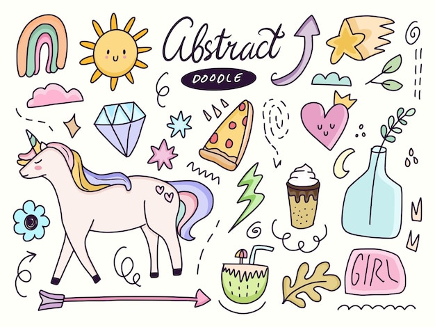 Cute abstract sticker drawing with unicorn and rainbow doodle