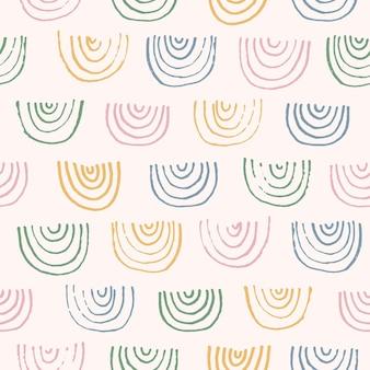 かわいい抽象的なベクトルカラフルなテクスチャ手描き虹弧形シームレスパターン