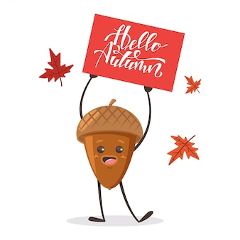 Cute acorn with maple leaves and sign