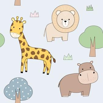 Cute adorable animal cartoon seamless pattern