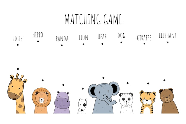 Cute adorable animals cartoon doodle matching game for kids and education