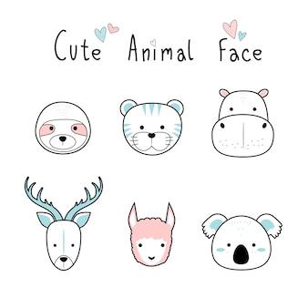 귀여운 사랑스러운 동물 얼굴 만화 낙서 파스텔