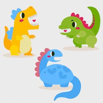 귀여운 사랑스러운 아기 공룡 캐릭터 디자인