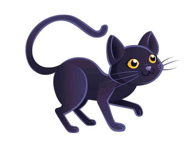 かわいい愛らしい黒猫漫画動物デザイン白い背景の上のフラットベクトルイラスト。
