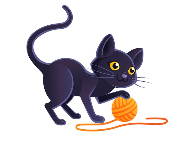 Cute adorable black cat playing with orange ball of wool cartoon animal design flat vector illustration on white background.