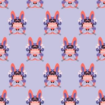 Симпатичные очаровательные лица кроликов в бесшовные модели
