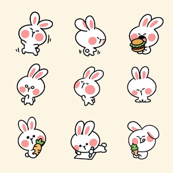 Cute and adorable bunny sticker third set
