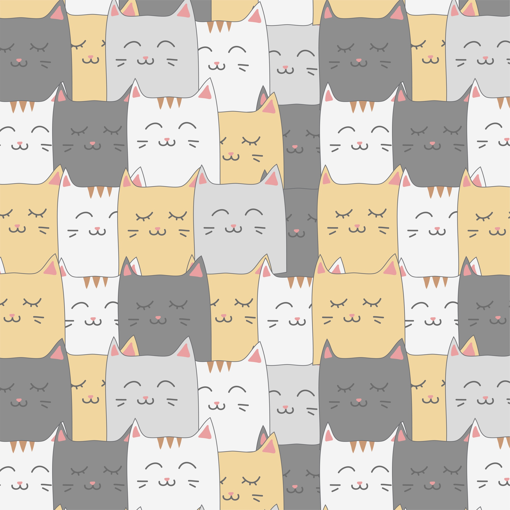 Cute adorable cartoon cat faces seamless pattern background