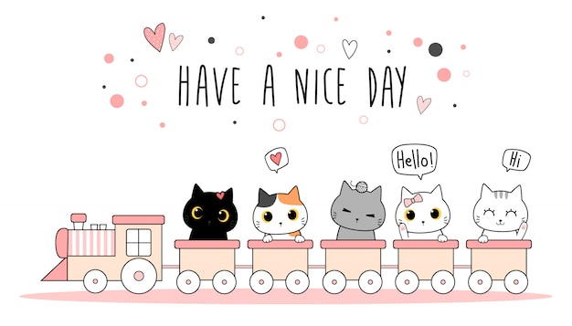 Cute adorable cat kitten on train cartoon