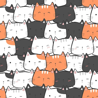 귀여운 사랑스러운 고양이 키티 머리 만화 낙서 원활한 패턴