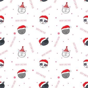 かわいい愛らしい猫メリークリスマスと新年あけましておめでとうございます漫画落書きシームレスパターン背景