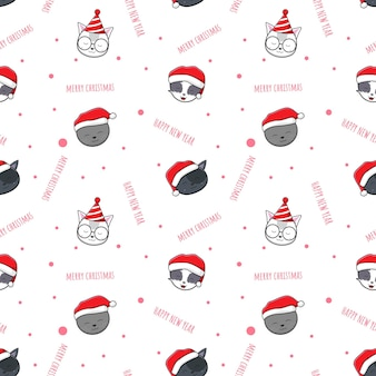 Cute adorable cat merry christmas and happy new year cartoon doodle seamless pattern background