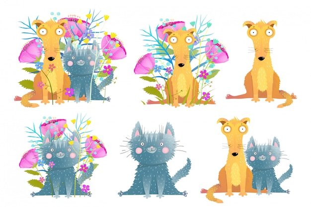 かわいい愛らしい猫と犬は手描き水彩風漫画のクリップアートコレクションです。面白い家畜コレクション。図。