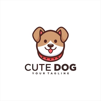 Cute adorable dog logo design