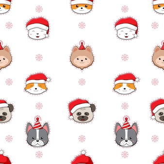 Cute adorable dog merry christmas happy new year cartoon doodle seamless pattern background