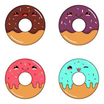 Коллекция милых очаровательных пончиков