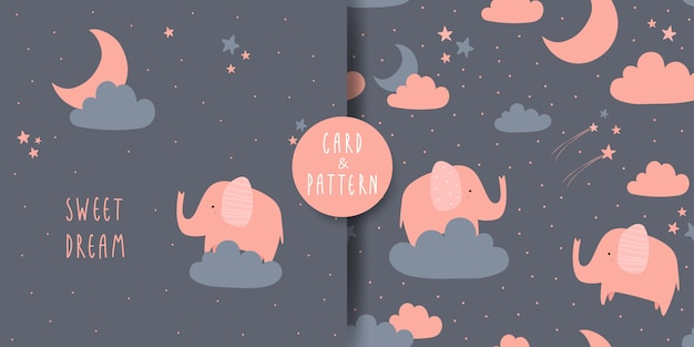 Cute adorable elephant cartoon doodle card and seamless pattern