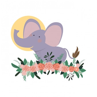 Cute and adorable elephant with floral decoration