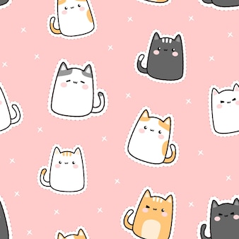 Cute adorable fat lower cat kitty cartoon doodle seamless pattern
