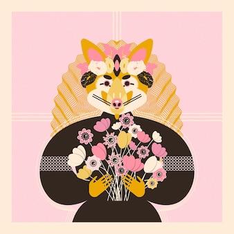 かわいい愛らしいキツネ生地のtシャツポスターグリーティングカードの招待状に最適なプリント