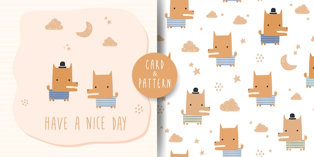 Cute adorable fox dog cartoon doodle card and seamless pattern
