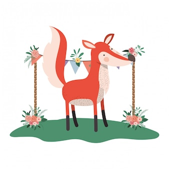 Cute and adorable fox with floral frame