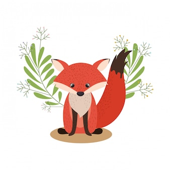 Cute and adorable fox with wreath