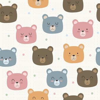 Cute adorable funny bear cartoon seamless pattern on dot wallpaper background