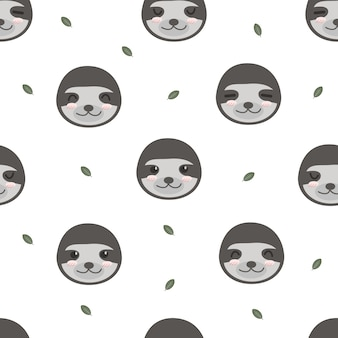 Cute adorable funny sloth animals cartoon seamless pattern wallpaper background
