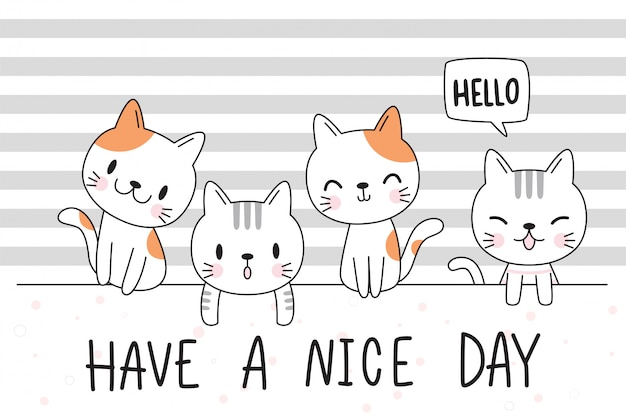 Cute adorable hand drawn baby cat kitten family greeting cartoon doodle wallpaper cover